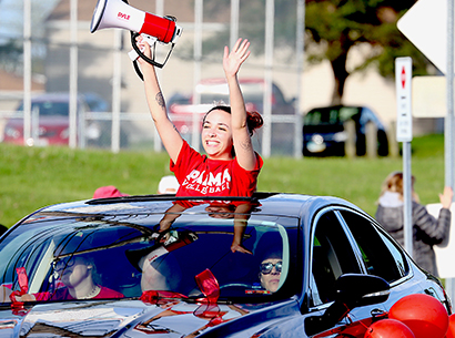 PSH student celebrates during drive through ceremony
