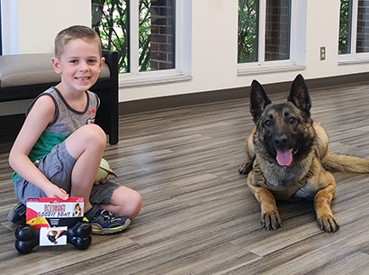 Lucas with North Royalton PD canine Bear