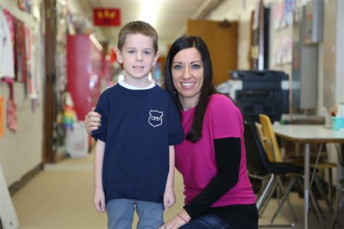 Lucas with Renwood Kindergarten Teacher Ashley Banes