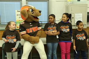 Browns Mascot Chomps and Students