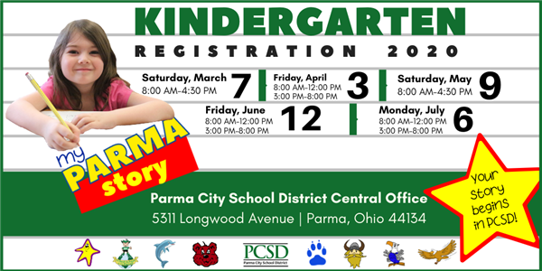 Kindergarten Registration Events will be held on March 7, April 3, May 9, June 12 and July 6. Click for more information.