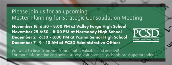 Please attend one of our final four Master Planning for Strategic Consolidation Meetings. Click the image for more info.